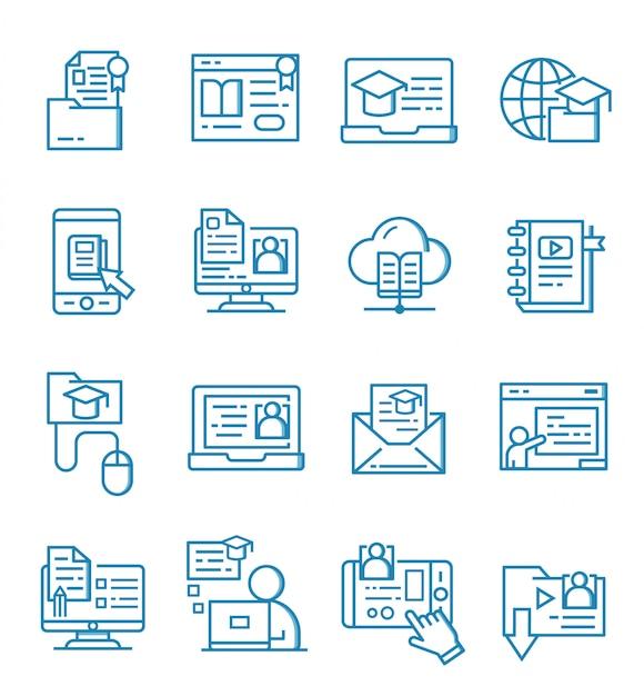 Set van online onderwijs pictogrammen met kaderstijl Premium Vector