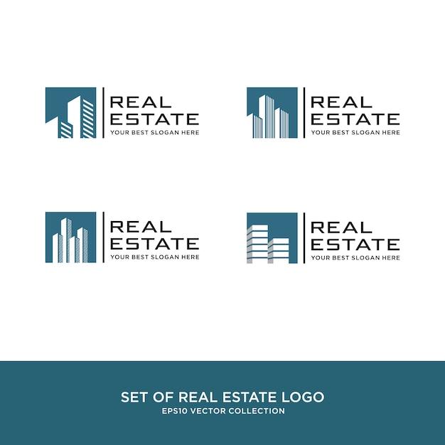 Set van onroerend goed logo, bouw en constructie Premium Vector