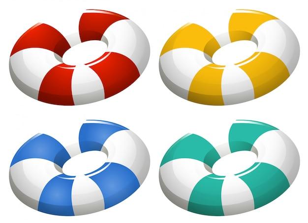 Set van opblaasbare ring Gratis Vector