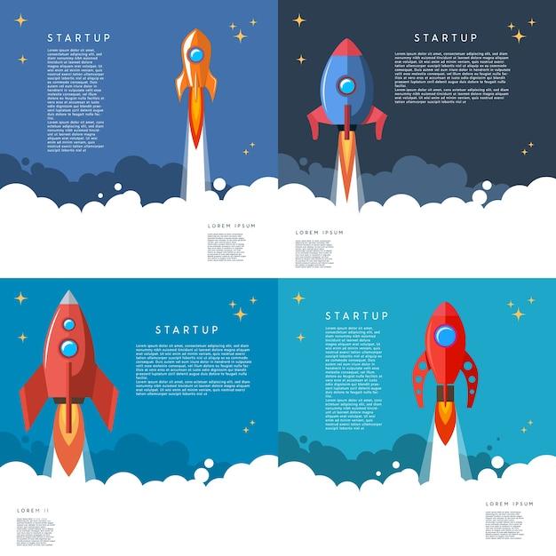 Set van opstarten. raketlancering illustratie in cartoon stijl. beeld Premium Vector