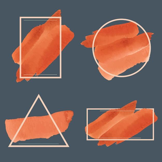 Set van oranje aquarel banner ontwerp vector Gratis Vector