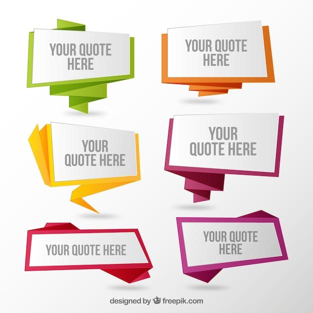 Set van origami tekstballonnen quotes Gratis Vector