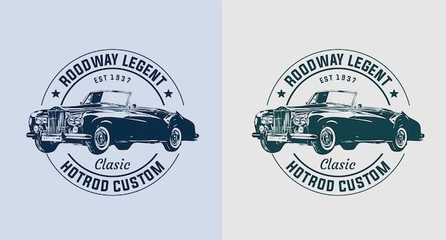 Set van oude auto vintage logo Premium Vector