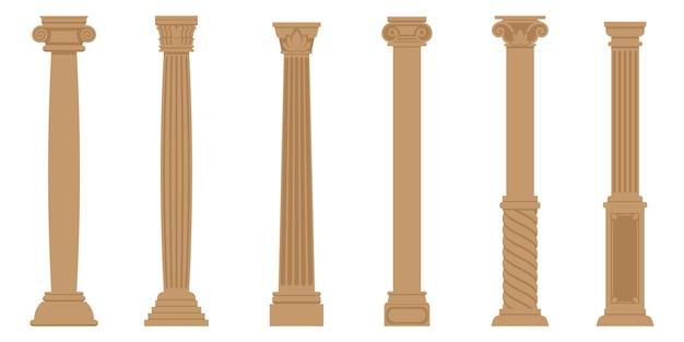 Set van oude kolommen. objecten in vlakke stijl geïsoleerd op een witte achtergrond. Premium Vector
