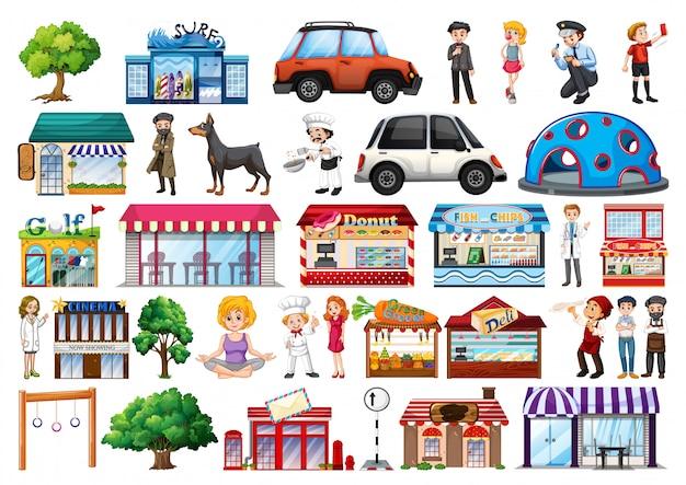 Set van outdoot objecten en gebouwen, transport Gratis Vector