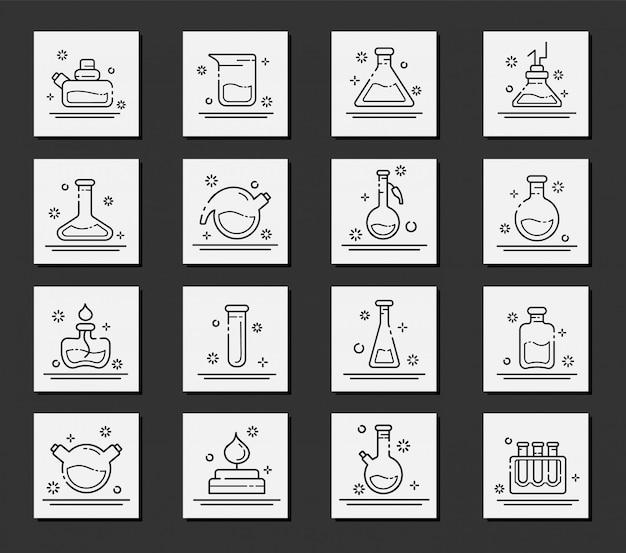 Set van overzicht pictogrammen - laboratorium kolven, reageerbuizen voor wetenschappelijk experiment. chemisch laboratorium Premium Vector