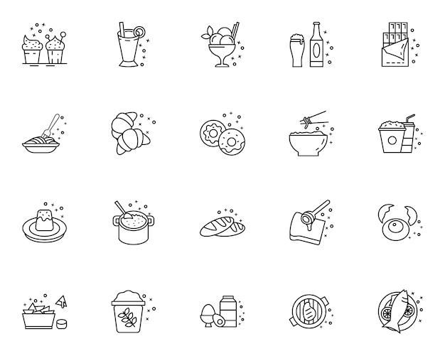 Set van overzicht voedsel pictogrammen Premium Vector