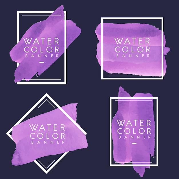 Set van paarse aquarel banner ontwerp vector Gratis Vector