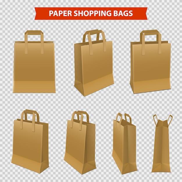 Set van papieren zakken om te winkelen Gratis Vector