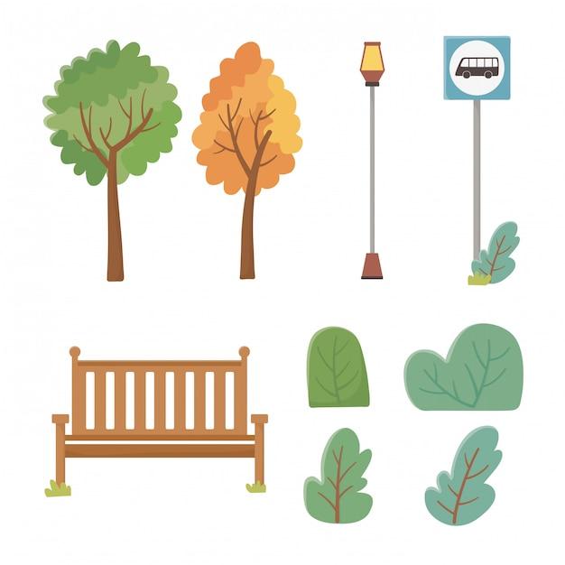 Set van park elementen pictogrammen Gratis Vector