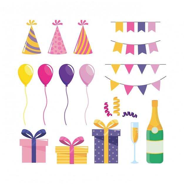 Set van partij decoratie met ballonnen en geschenken Gratis Vector