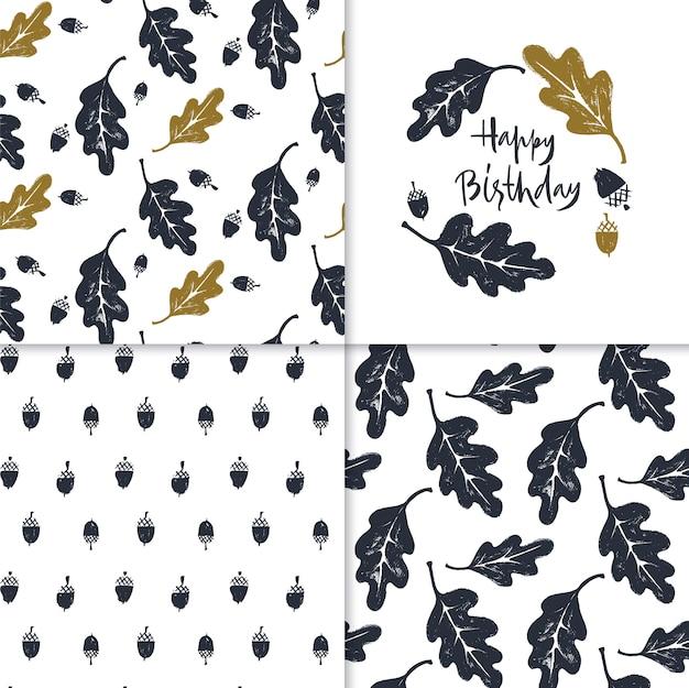 Set van patronen en happy birthday-kaart met eikenbladeren en eikels. Premium Vector