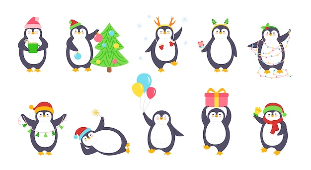 Set van penguin christmas-illustratie Premium Vector