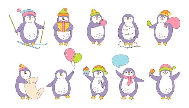 Set van penguin christmas-illustratie Premium Vector