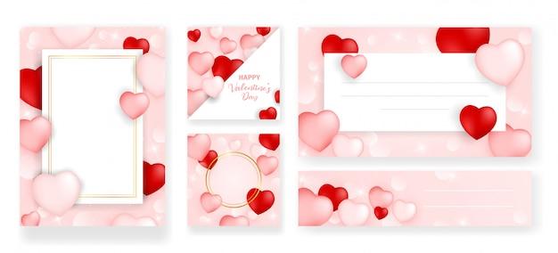 Set van perfecte bruiloft sjablonen met patroon thema Premium Vector