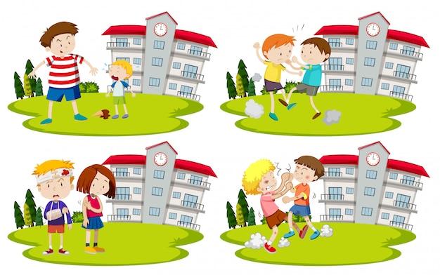 Set van pestkoppen en kinderen Premium Vector