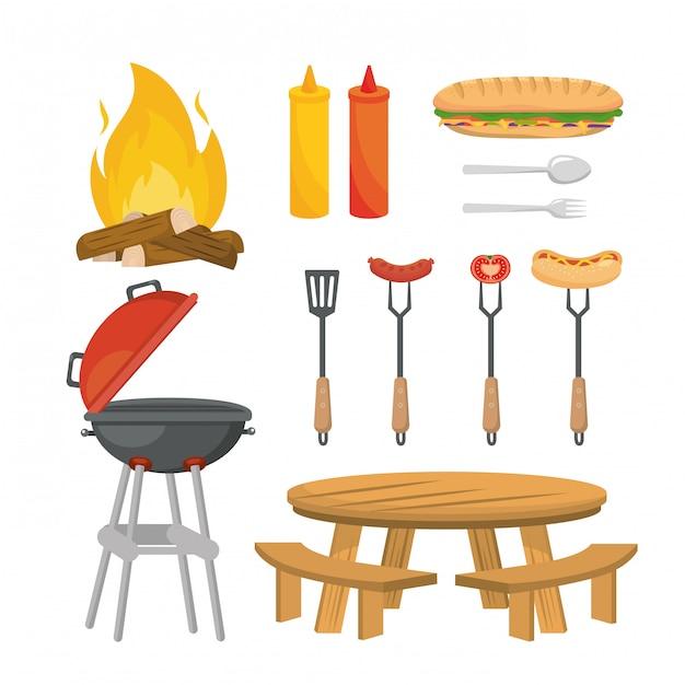 Set van picknick ontspanning met voedsel en gegrilde snack Gratis Vector