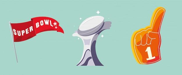 Set van pictogram amerikaans voetbal, super bowl Premium Vector