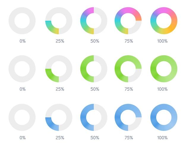 Set van pictogram indicator download voortgang Premium Vector