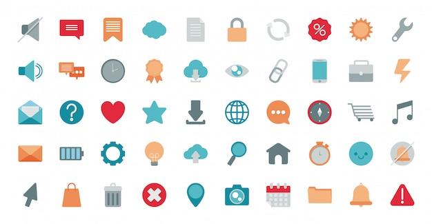 Set van pictogrammen elektronische handel op witte achtergrond Premium Vector
