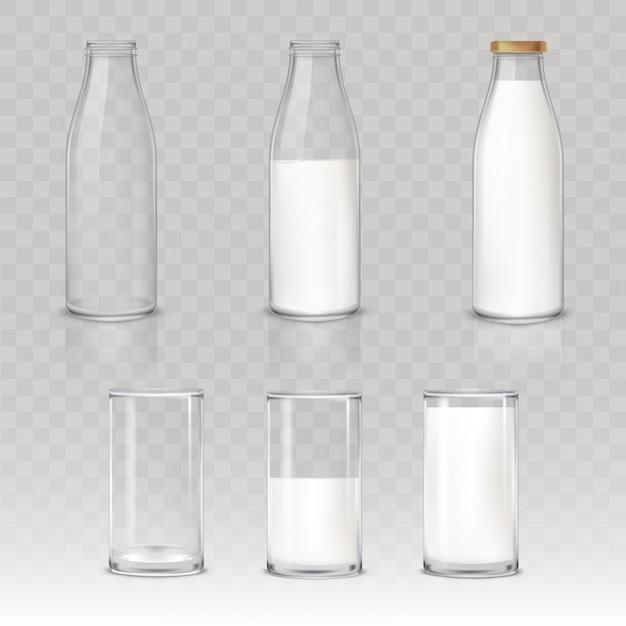 Set van pictogrammen glazen en flessen met een melk Gratis Vector