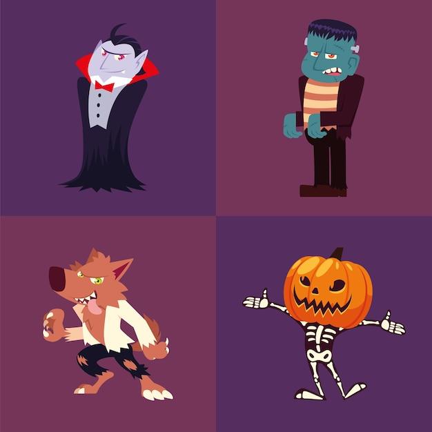 Set van pictogrammen halloween met vampier, frankenstein, weerwolf, pompoen en skelet Premium Vector