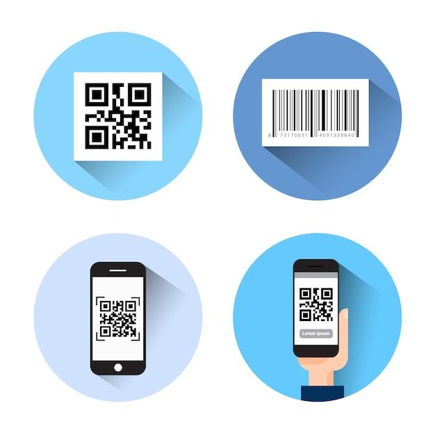 Set van pictogrammen met bar qr code scannen slimme telefoons geïsoleerd op een witte achtergrond Premium Vector