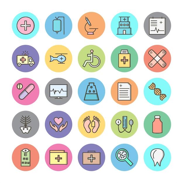Set van pictogrammen met medische thema Premium Vector