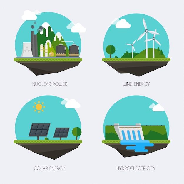Set van pictogrammen met verschillende soorten elektriciteitsopwekking. landschap en industriële fabrieksgebouwen concept. vector platte infographic. Premium Vector