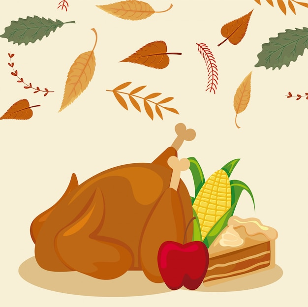 Set van pictogrammen thanksgiving met herfstbladeren Premium Vector