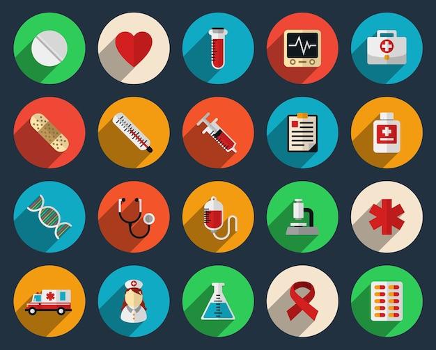 Set van pictogrammen voor gezondheidszorg en geneeskunde in vlakke stijl. apotheek symboolteken, spuit en tabletten Gratis Vector
