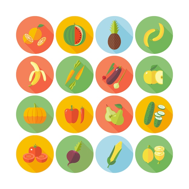 Set van pictogrammen voor groenten en fruit. Premium Vector