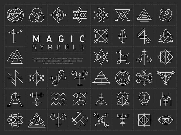 Set van pictogrammen voor magische symbolen Premium Vector