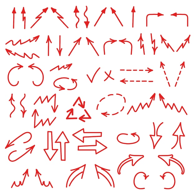 Set van pijlen pictogram in alle richtingen. zakelijke grafieken, grafieken, infographics elementen Premium Vector