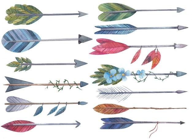 Set van pijlen voor de boog met bloemen en bladeren aquarel illustratie op een witte achtergrond Premium Vector