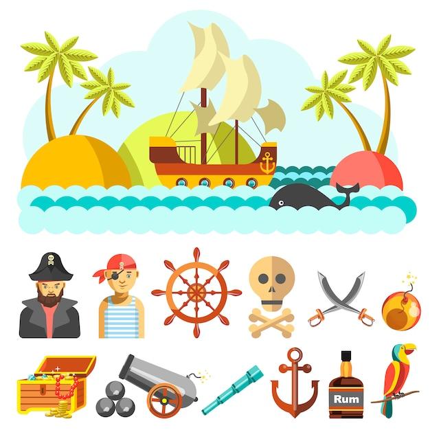 Set van piratical vector iconen Premium Vector