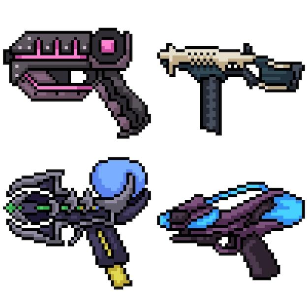 Set van pixel art sci fi pistool geïsoleerd op wit Premium Vector