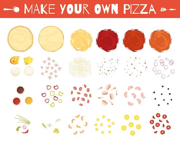 Set van pizza-elementen Gratis Vector