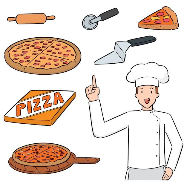 Set van pizza en pizza chef-kok Premium Vector