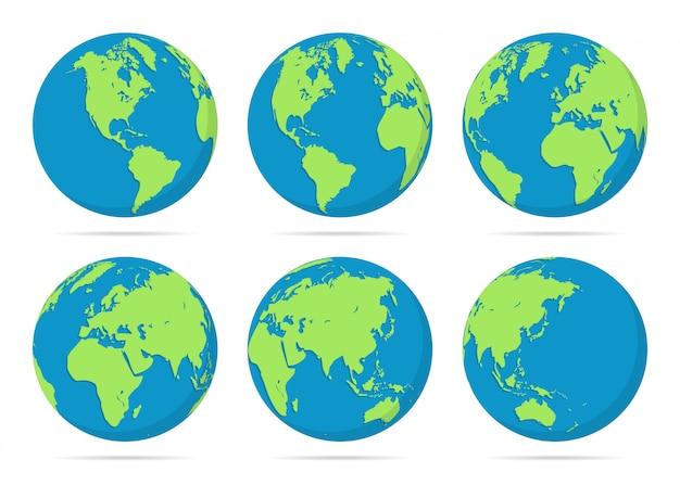 Set van planeet aarde globes illustratie Premium Vector
