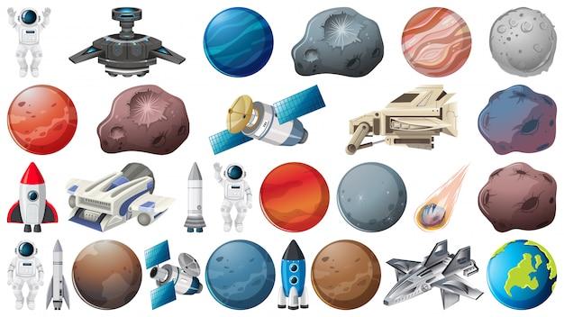 Set van planeten en elementen van de ruimte Gratis Vector