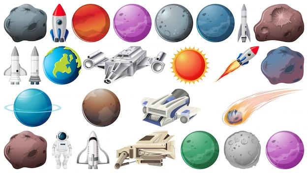 Set van planeten en ruimtebehoeften Gratis Vector