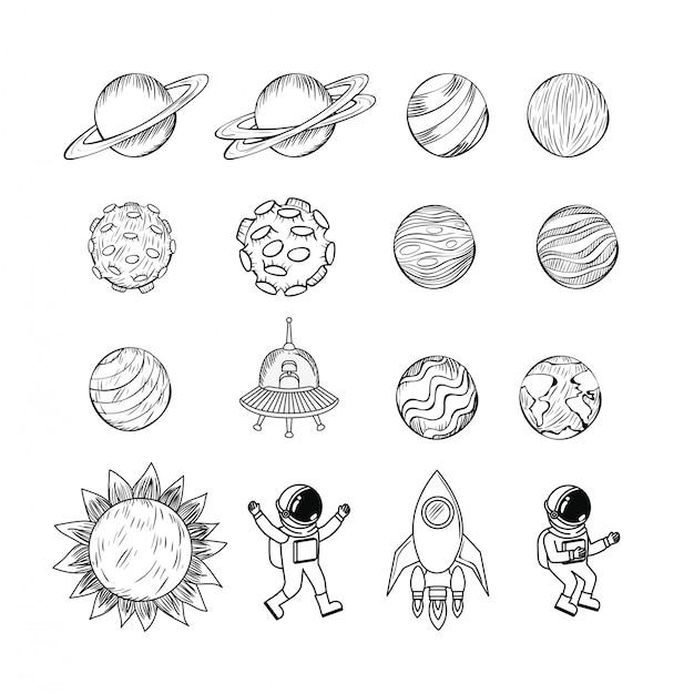 Set van planeten pictogram Gratis Vector