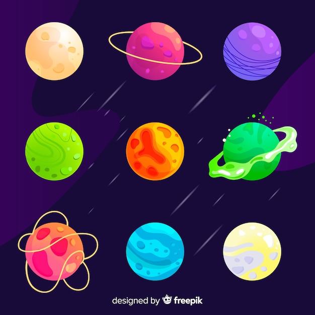 Set van planeten vlakke stijl Gratis Vector