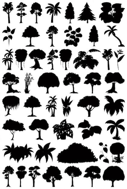 Set van plant en boom silhouet Gratis Vector