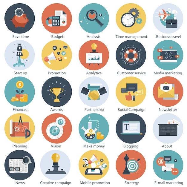 Set van plat pictogrammen voor zaken en technologie Premium Vector