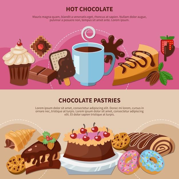 Set van platte banners met warme chocolademelk en gebak op roze en beige achtergrond geïsoleerd Gratis Vector