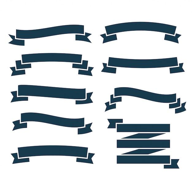 Set van platte blauwe linten Gratis Vector