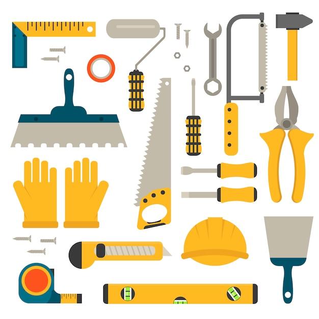 Set van platte bouw hulpmiddelen vector. Premium Vector