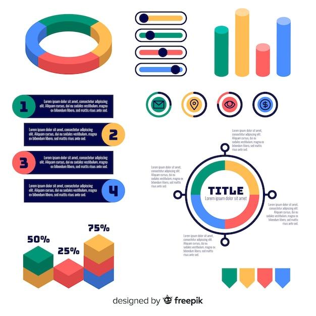 Set van platte infographic elementen Gratis Vector